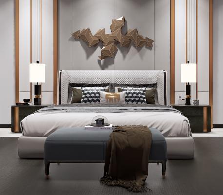 现代床具组合 双人床