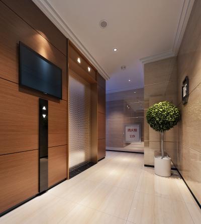 现代公司过道 办公电梯间