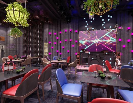 工业风酒吧 舞台 绿植