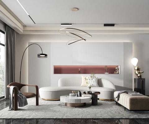 现代客厅 异型沙发