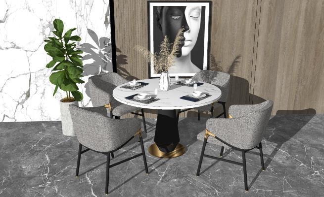 现代餐桌椅组合 轻奢休闲椅 餐椅