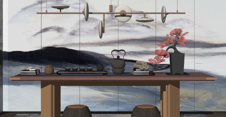 中式茶壶茶杯组合 功夫茶具 茶海 松树盆栽 吊灯 迎客松