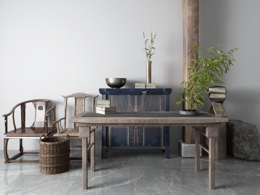 新中式书桌椅 松树 石狮子 景观树