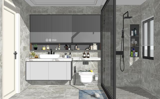 现代风格卫生间 洗手台 马桶 淋浴组合