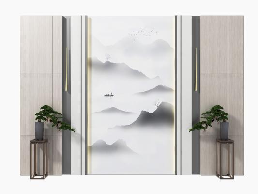 新中式背景墙组合