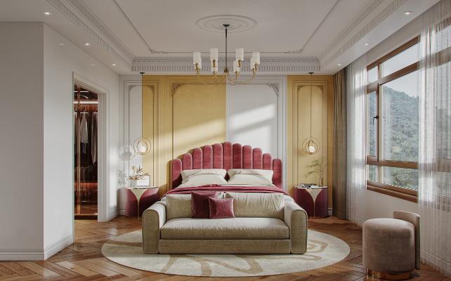 法式卧室 衣帽间 装饰画 梳妆台 绿植 吊灯