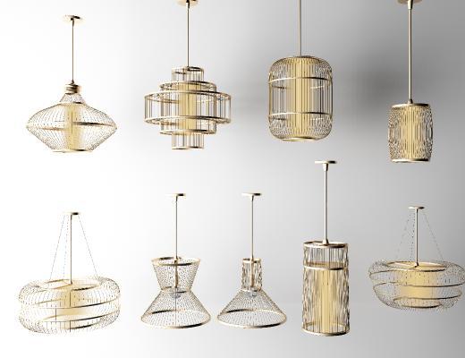 新中式吊灯 金属灯 玻璃灯