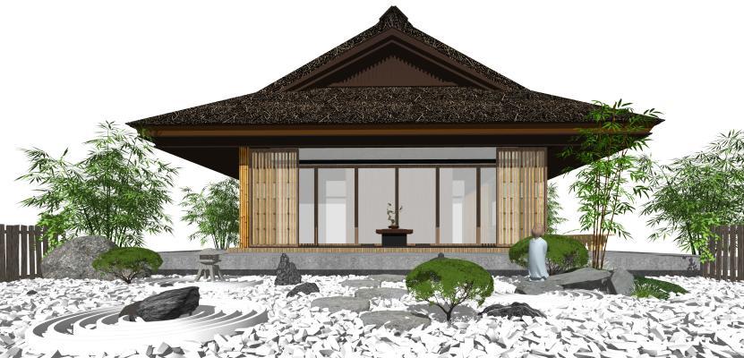 日式景观小品 庭院景观 茶室