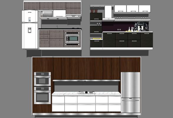 现代风格厨房 橱柜组合