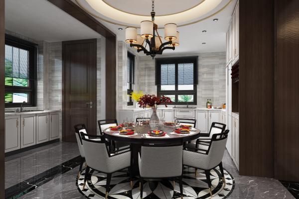 新中式风格餐厅 厨房 圆形餐桌