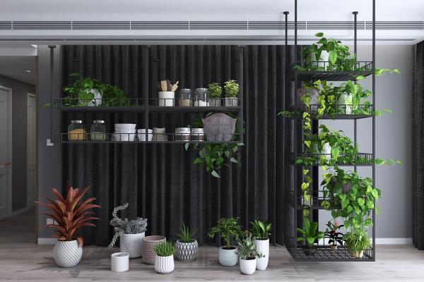 现代绿植盆栽花架组合