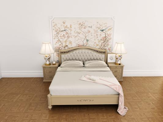 美式双人床 床头柜