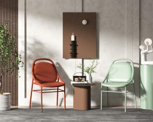 新中式风格单椅 边几