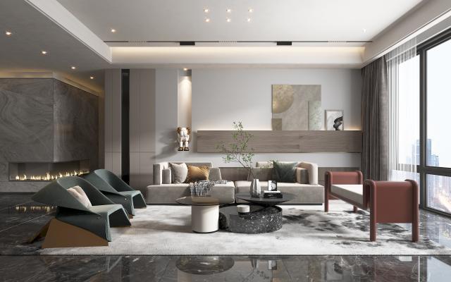 现代别墅客厅 沙发 椅子