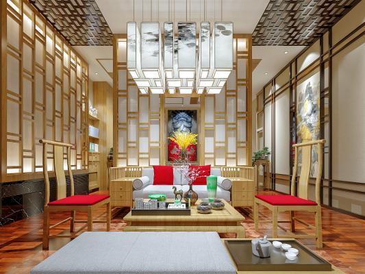 新中式客厅 沙发 电视柜