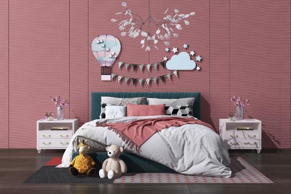 北欧双人床组合 床头柜 儿童床