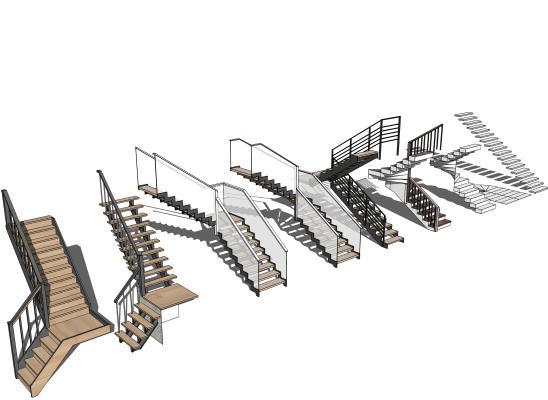 现代二阶楼梯组合