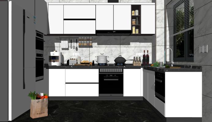 现代厨房 橱柜 电器 消毒柜