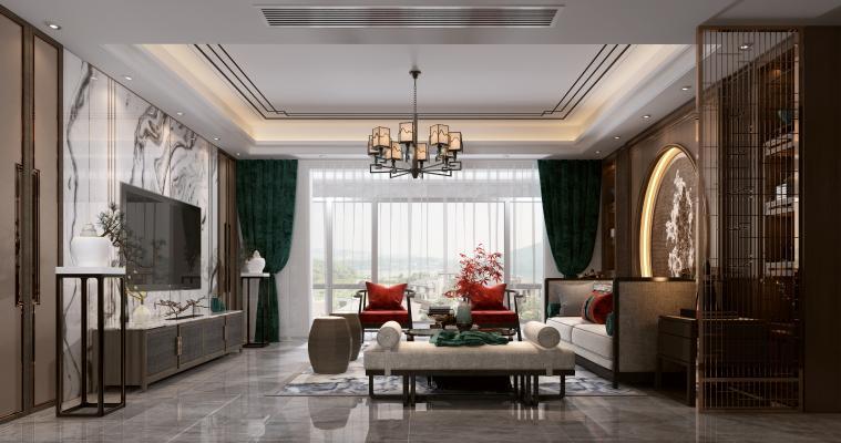 新中式客餐厅 双人沙发