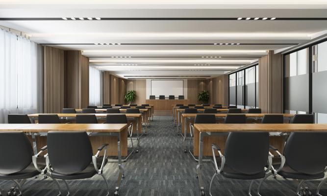现代报告厅 会议室 投影仪 会议桌椅
