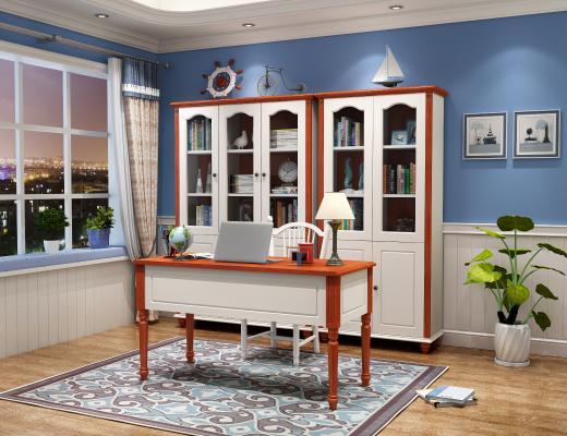 地中海书房白色书桌