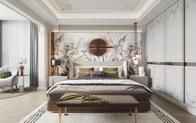 法式轻奢卧室3d