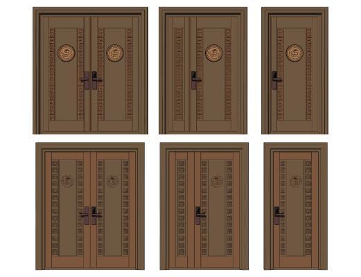 新中式单元门 铜门 双开门
