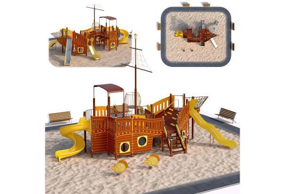 現代兒童滑梯沙池