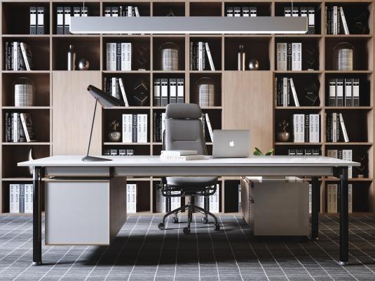现代老板办公桌椅 书柜吊灯组合