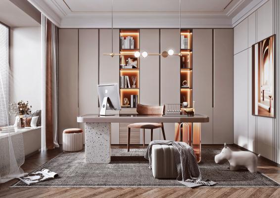 现代轻奢书房 书桌 书柜