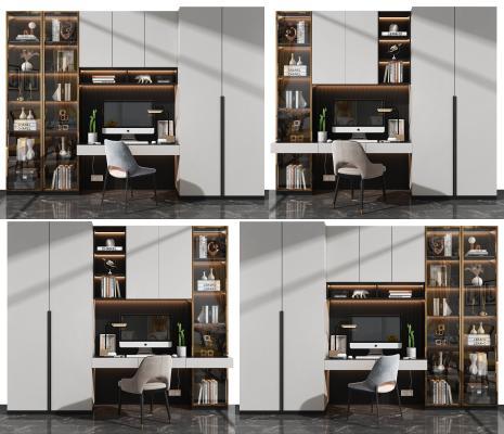 现代书桌椅 书柜组合