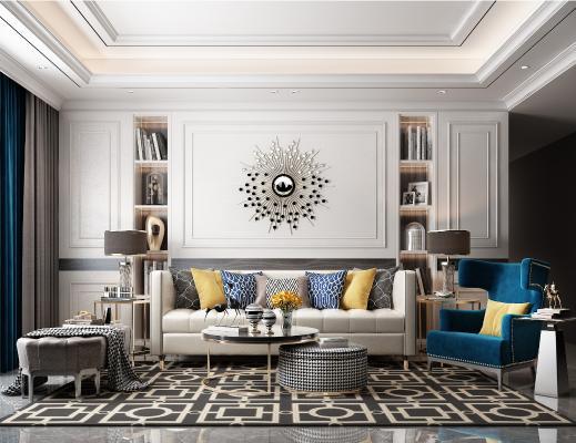 美式客厅 沙发茶几组合 背景墙 灯具