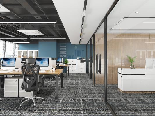 现代办公室 吊灯 办公桌椅