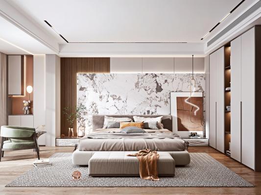 现代轻奢卧室 布艺床 休闲椅