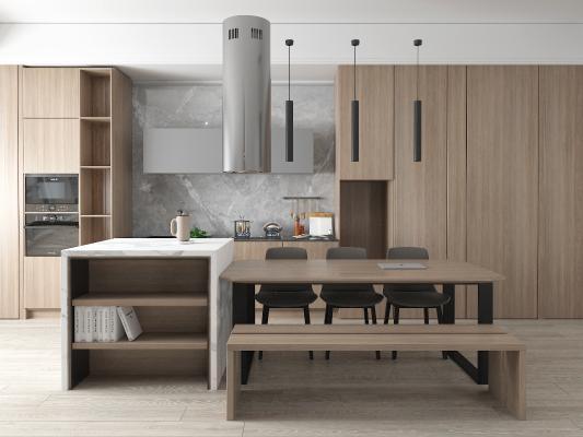 现代橱柜 吧台 开放式厨房