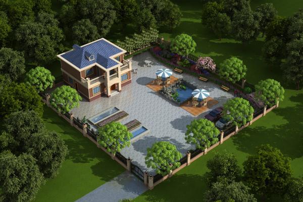 欧式别墅庭院景观小品 石桌 水池