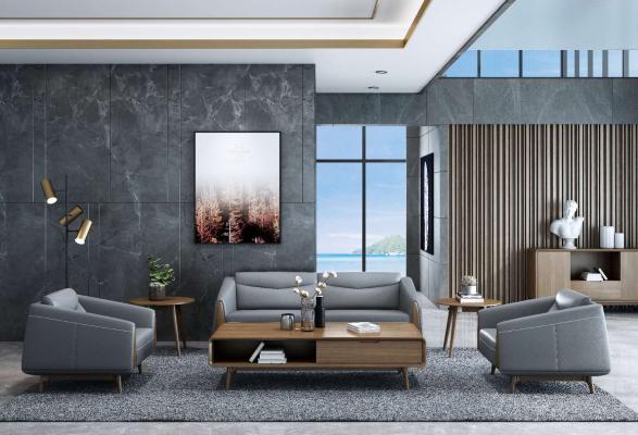 现代会客厅 真皮沙发组合 办公沙发 双人沙发