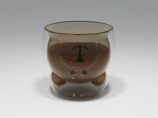 现代小熊玻璃杯 水杯 卡通