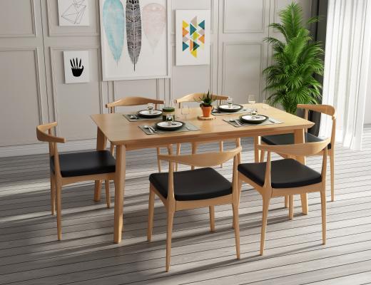 北欧原木色实木餐桌椅组合