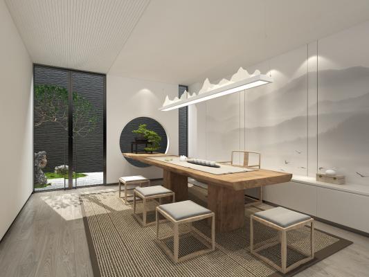 新中式茶室 茶桌 座椅组合