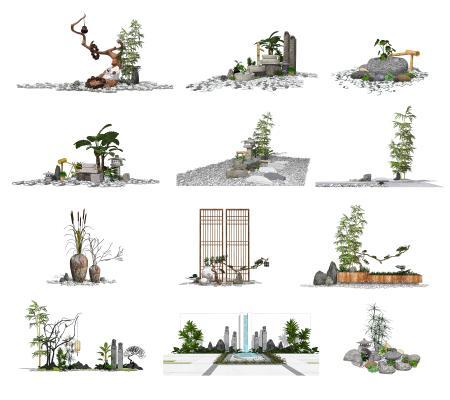 新中式景观小品庭院景观组合