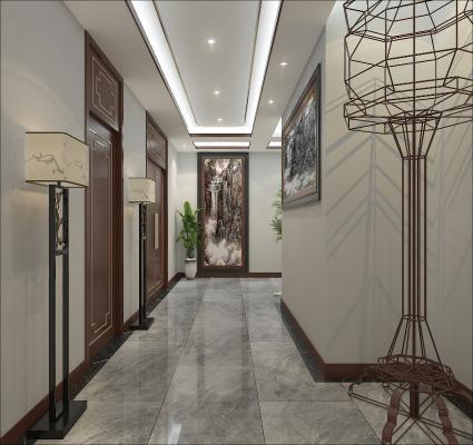 新中式酒店过道