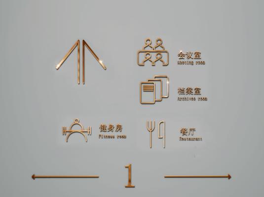 现代办公室玫瑰金线条门牌 标识 导识