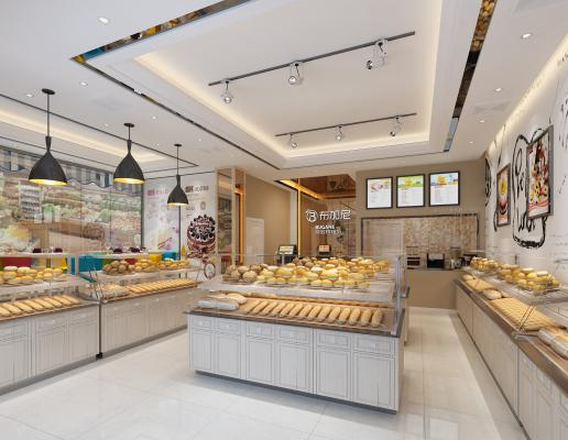 现代蛋糕店 面包 货架