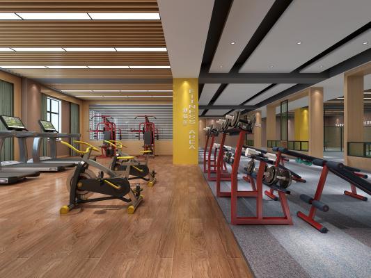 现代健身房 瑜伽室 乒乓球桌 跑步机