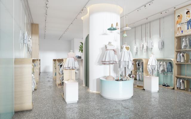 现代儿童服装店 展柜 衣服 鞋子 中岛柜 更衣室 展台 小吊灯