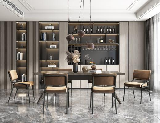 现代轻奢餐厅 餐桌 椅子