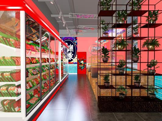 新中式國潮燒烤店 吊燈 隔斷