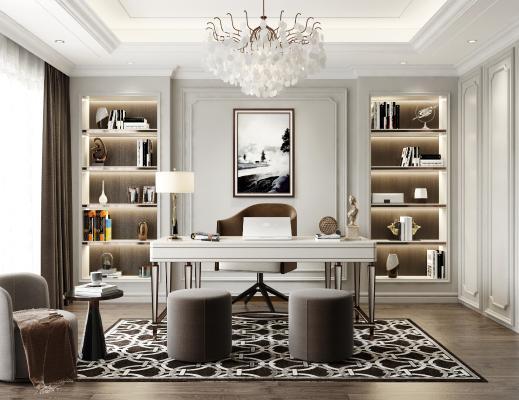 简欧书房 书桌 书柜 吊灯 椅子 凳子
