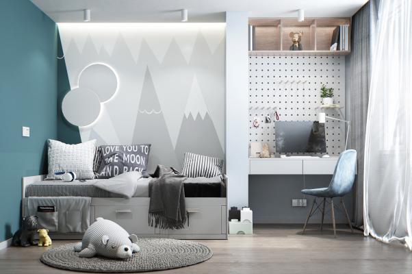 北欧风格儿童房 儿童床 书桌
